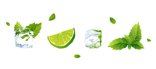Set of Vector illustration lime, ice cube and mint