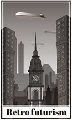 Art Deco style. Vertical cityscape background. Drawing vector illustration. Greeting card template.Chicago. Background for design and decoration. Art Deco Invitation Design. Great gatsby