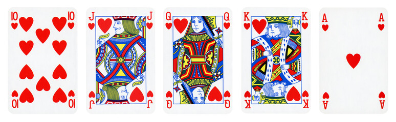 Hearts Suit Playing Cards, Set include Ace, King, Queen, Jack and Ten  - isolated on white.