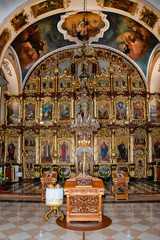 Belgrade, Serbia - October 14, 2018: Interior of Church of the Nativity of the Virgin Mary, known as the Church of the Holy Virgin of Serbian Orthodox Church