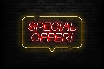 Vector realistic isolated neon sign of Special Offer logo for template decoration and covering on the wall background. Concept of online shopping and e-commerce.