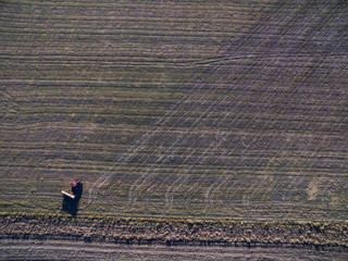Tractor and seeder, direct sowing in the pampa, Argentina