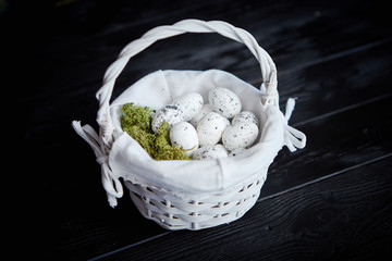 Quail eggs in a nest on a black rustic wooden background. Easter symbols