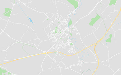 Newbridge, Ireland downtown street map