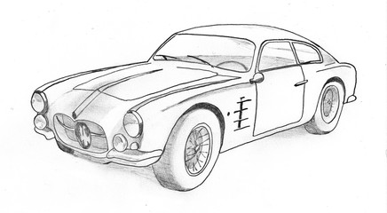 vintage sports car, manual drawing