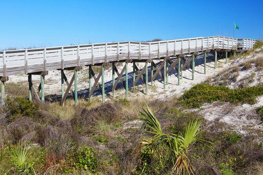 Boardwalk to the beach at Anastasia State Park near St. Augustine, Florida