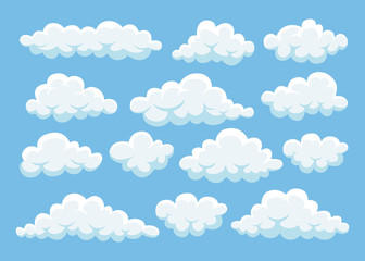 Cartoon clouds in blue sky. Cloudscape isolated on background. Heaven. Vector flat design