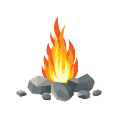 Cartoon fire flames, bonfire, campfire isolated on background. Vector flat design