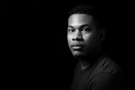 Beautiful handsom young man black and white