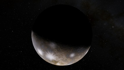 Exoplanet 3D illustration the planet is cold with craters with a ring against a black sky (Elements of this image furnished by NASA)