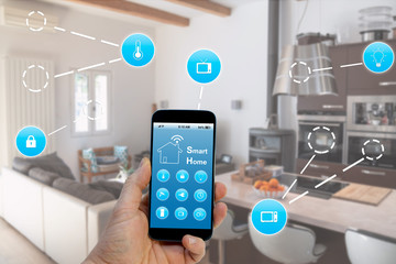 Smart Home control by smartphone with modern application, concept