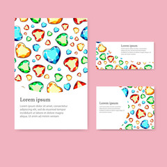 A set of cards with multi-colored diamonds.