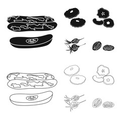 Fototapete - Vector design of food  and raw  sign. Collection of food  and nature   stock symbol for web.