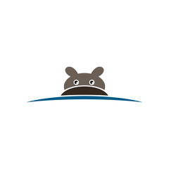 hippo in water logo sign element vector illustration
