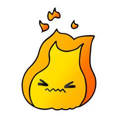 gradient cartoon of cute kawaii fire flame