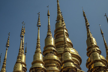 gold pagoda in temple North Thailand