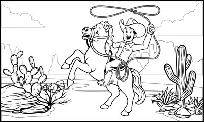 black and white coloring page cowboy ride the horse