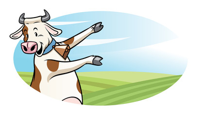 cow with cartoon style presenting the blank space for text