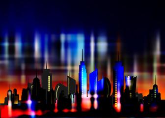 Futuristic city in neon lights. Retro Style 80s. Energy concept. Creative idea. Design background, colorful Night City Skyline. Cityscape , Beautiful night neon sky over city buildings business