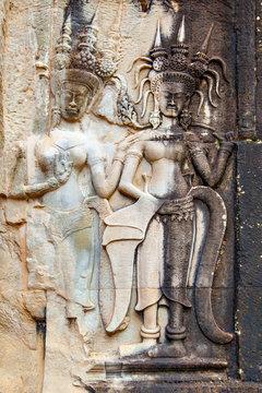 Ancient bas relief in Angkor Wat
