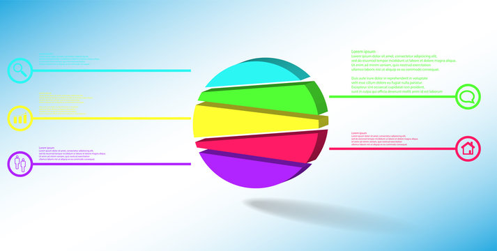 3D illustration infographic template with embossed circle randomly divided to five parts