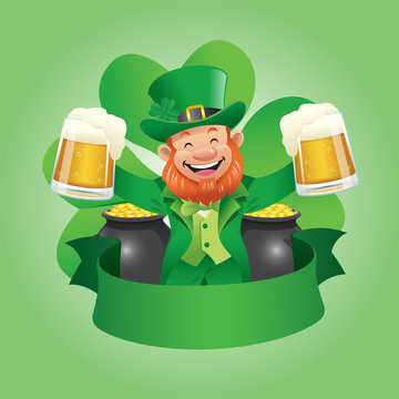st patricks day with leprechaun holding pint of beers