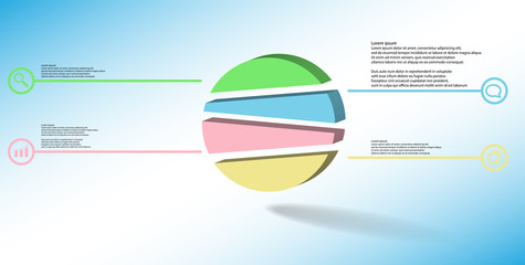 3D illustration infographic template with embossed circle randomly divided to four parts