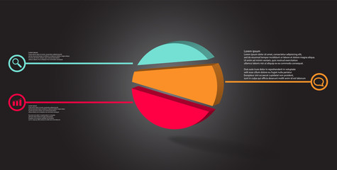 3D illustration infographic template with embossed circle randomly divided to three parts