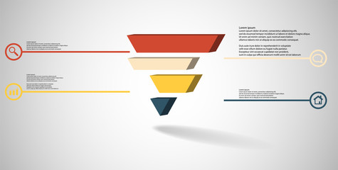 3D illustration infographic template with embossed triangle divided to four shifted parts
