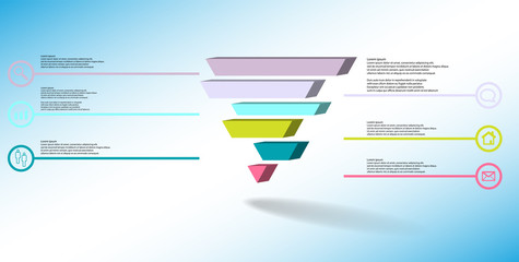 3D illustration infographic template with embossed triangle divided to six shifted parts