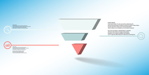3D illustration infographic template with embossed triangle divided to three shifted parts