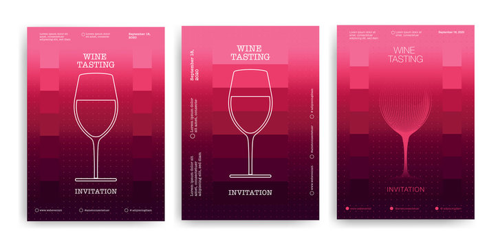 Set of designs for events, parties, tastings or wine celebrations. Elegant design with icon and wine glass illustration. Background red wine colors.