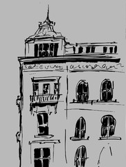 Ink sketch of buildings. Hand drawn illustration of Houses in the European Old town. Travel artwork. Black line drawing isolated on gray background.