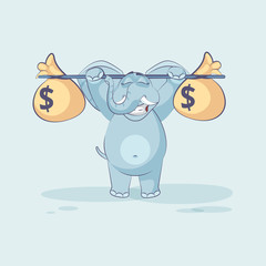 elephant raises barbell with bags of money