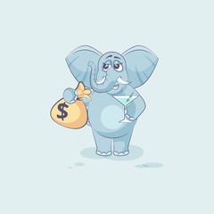 elephant sticker emoticon with bag of money