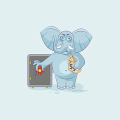 elephant sticker emoticon open safe to hide money
