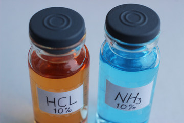 Aqueous solutions of hydrochloric acid and ammonia concentration of 10 percent.