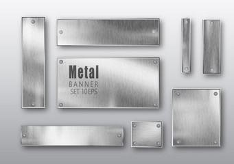 Papiers peints Metal Metal banners set realistic. Vector Metal brushed plates with a place for inscriptions isolated on transparent background. Realistic 3D design. Stainless steel background.
