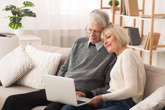 Loving senior couple websurfing on laptop computer