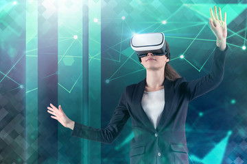 Fototapete - Woman in vr glasses using green network interface