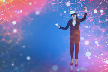 Fototapete - Businesswoman in VR, red network interface