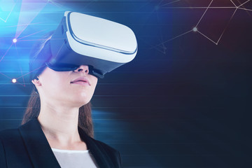 Fototapete - Businesswoman in VR goggles, network interface