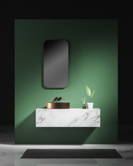 Green bathroom interior with sink