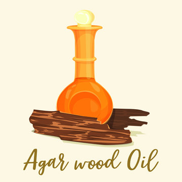 Agar wood perfume or agarwood oil in bottle