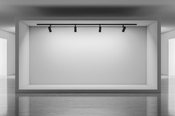 Mock up space with lamps in gallery