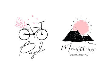 Bicycle and Mountains Logo Design