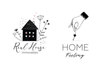 Property real estate house and key elegant logo.