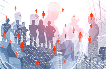 Business people in city, global network