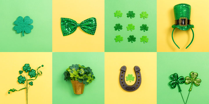 St. Patrick's Day theme with flat lay decoration elements