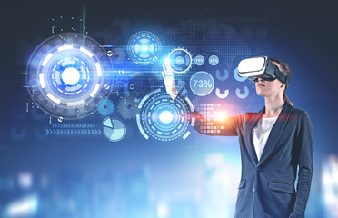 Woman in vr glasses, business infographics